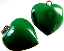 MALACHITE HEART PENDANT PAIR 35 CTS [SJ2869]