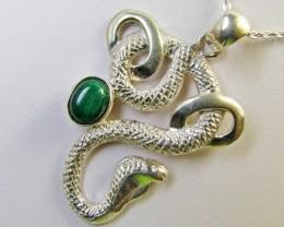 Malachite in silver pendant cobra snake MJA 376