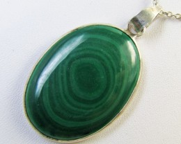 Malachite in silver pendant MJA 378