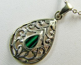 Malachite in Cute silver pendant MJA 379