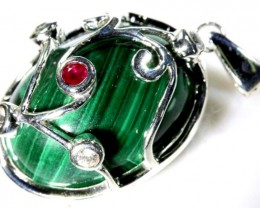 MALACHITE PENDANT WITH RUBY 48   CTS   RJ-391