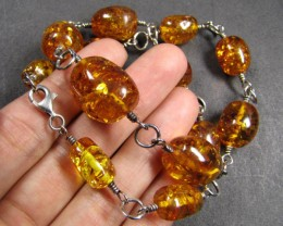 BALTIC AMBER  BEAD NECKLACE  44 CM LENGTH   MYG 420