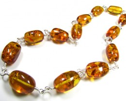 BALTIC AMBER  BEAD NECKLACE 44  CM LENGTH   MYG 421