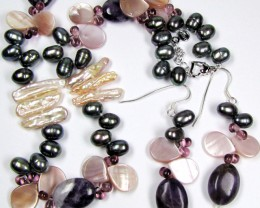BAROQUE BIWA ,AMETHYST ,  PEARL NECKLACE,EARRINGS  GTJA 455