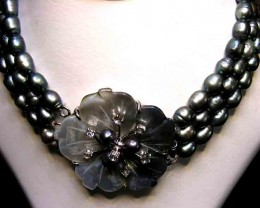 BLACK  HUES PEARL NECKLACE PLUS 12 FREE PEARLS 90692