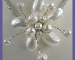 """GLAMOUR! - GORGEOUS STERLING SILVER MOP & PEARL NECKLET"""