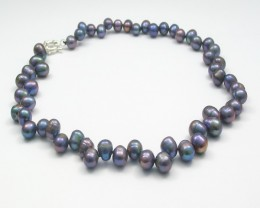 Genuine Metalic Pearl Necklace