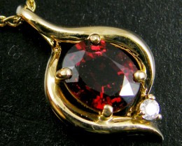 NATURAL GARNET 14K YELLOW GOLD PENDANT  MYT 793
