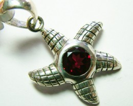 STARFISH FACETED GARNET  SILVER PENDANT - 39 CTS  ADK-191