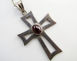 28 Cts Garnet set in Cross Silver Pendant  MJA 1036