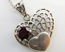 20.5 Cts Garnet set in Heart Silver Pendant  MJA 1038