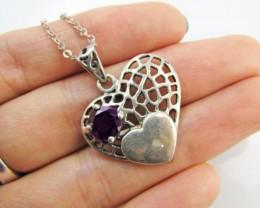 20 Cts Garnet set in Silver  Heart Pendant  MJA 1038a