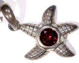 STARFISH FACETED GARNET SILVER PENDANT - 39 CTS TBJ-601