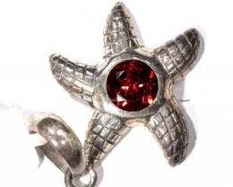 STARFISH FACETED GARNET SILVER PENDANT - 37CTS   TBJ-604