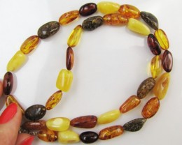 65Cts Amber   Necklace    two tone    MJA1130