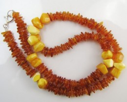80 Cts Amber   Necklace    two tone    MJA1131