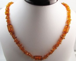 70 Cts Amber   Necklace    two tone    MJA1133