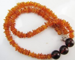 65 Cts Amber   Necklace    two tone    MJA1134