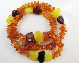 75 Cts Amber   Necklace    two tone    MJA1136