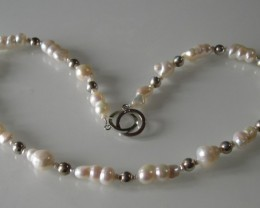 BAROQUE PEARLS, SILVER AND WHITE GOLD NECKLACE 52cms