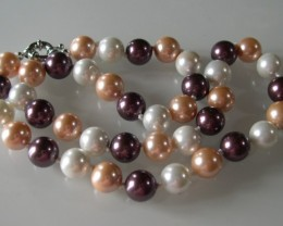 VERY NICE MULTICOLOR SHELL PEARLS NECKLACE 46cms