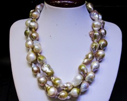 Long 80 cm Golden Fresh water Pearl necklace Bu 978