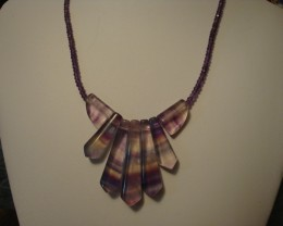 FLUORITE AND AMETHYST NECKLACE PENDANT