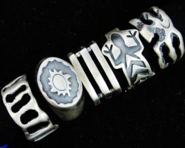 Pewter Rings 5 Mixed designs   PE44