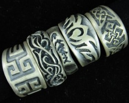 Pewter Rings 5 Mixed designs   PE62