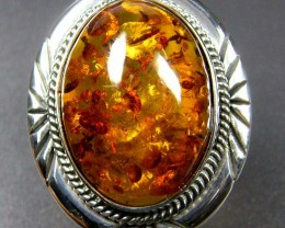 LARGE BALTIC AMBER RING SIZE 9 MYG1219