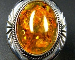 LARGE BALTIC AMBER RING SIZE 10.5 MYG1239