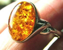 AMBER  SILVER RING 12.22   CTS  SIZE 8.25 SG-2097