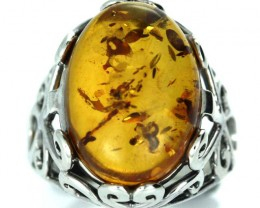 UNISEX AMBER  SILVER 6 RINGS SIZE 31.40 CTS [SJ1444]