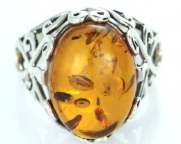 UNISEX AMBER  SILVER 10 RINGS SIZE 33.00 CTS [SJ1447]