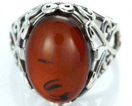 UNISEX AMBER  SILVER 10 RINGS SIZE 34.30 CTS [SJ1448]