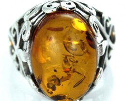 UNISEX AMBER  SILVER 7.5 RINGS SIZE 34.40 CTS [SJ1449]