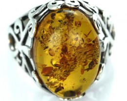 UNISEX AMBER  SILVER 8.5 RINGS SIZE 31.35 CTS [SJ1450]