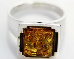 UNISEX AMBER  SILVER RINGS 8 1/2 SIZE  38.10 CTS [SJ525]