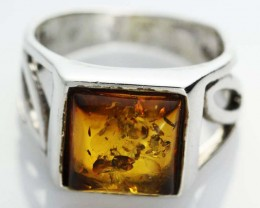 UNISEX AMBER  SILVER RINGS 7 1/2 SIZE  31.00 CTS [SJ529]