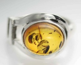 UNISEX AMBER  SILVER RINGS 6 SIZE 31.55 CTS [SJ535]