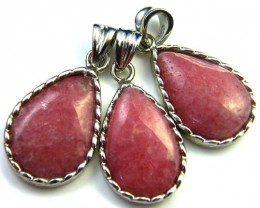 THREE CUTE PINK RHODOCHOSITE  SET IN  PENDANT  AAA2203