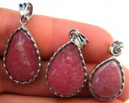 THREE CUTE PINK RHODOCHOSITE  SET IN  PENDANT  AAA2206