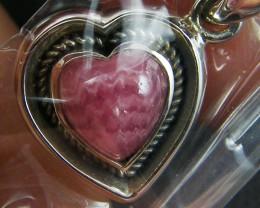 RHODOCHROSITE HEART SHAPE STERLING SILVER PENDANT MYT 347