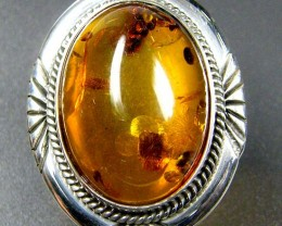 LARGE BALTIC AMBER RING SIZE 9 MYG1246
