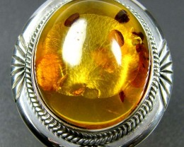 LARGE BALTIC AMBER RING SIZE 12 MYG1204