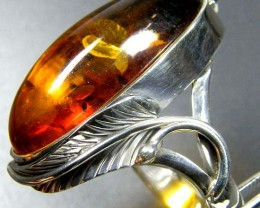 LARGE BALTIC AMBER RING SIZE 10.5 MYG1209