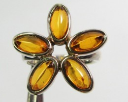 CLUSTER AMBER  SILVER RING SIZE 8.5   GG  1018