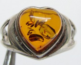 Amber  in Silver ring heart shape size  9    MJA 529