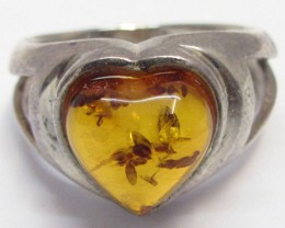 Amber  in Silver ring heart shape size  8    MJA 533