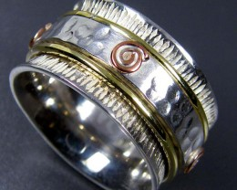 COPPER BRASS HAND ETCHED SILVER RING SIZE 8 GTJA663
